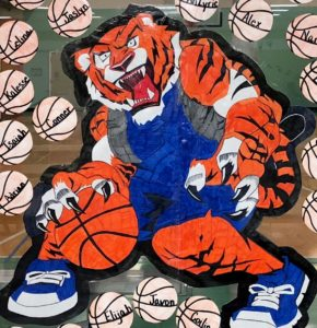 Image of Hand Drawn Harmony Tiger Holding a Basketball