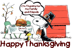 """I'm thankful for my family and friends."" says Snoopy. ""Me too!"" says Woodstock. Happy Thanksgiving!"