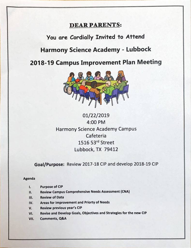 Parent involvement Flyer listing the goals of the Campus Improvement Plan (CIP) meeting.