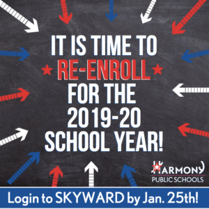 It is time to re-enroll for the 2019-2020 school year! Login to Skyward by Jan. 25th!